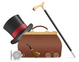illustrazione di vettore di accessori vecchio uomo retrò e valise
