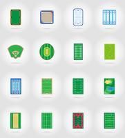 lo stadio ed il campo del campo da giuoco della corte per le icone piane dei giochi di sport vector l'illustrazione