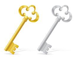 vecchia illustrazione di vettore di serratura di porta di chiavi retro