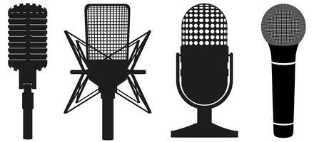 set di icone di microfoni illustrazione vettoriale silhouette nera