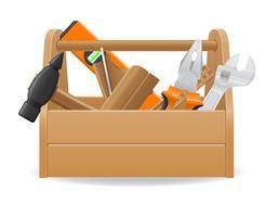 illustrazione vettoriale di cassetta degli attrezzi in legno