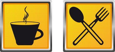 icone tazza forchetta e cucchiaio per illustrazione vettoriale design