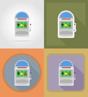 illustrazione piana delle icone degli oggetti e dell'attrezzatura del casinò dello slot machine vettore