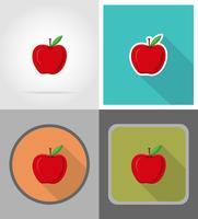 illustrazione piana di vettore delle icone di frutti della mela