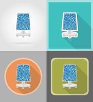 icone piane batteria solare illustrazione vettoriale