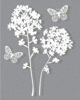 Posizionamento grafico vettoriale botanico grigio bianco