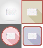 icone piane di consegna posta illustrazione vettoriale