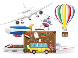 vecchia valigia per viaggio e trasporto per illustrazione vettoriale viaggio