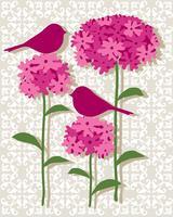 Posizionamento grafico vettoriale botanico rosa con uccelli