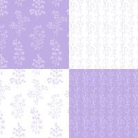 motivi floreali botanici disegnati a mano di lavanda e bianco vettore