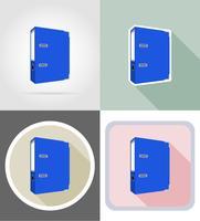 illustrazione piana di vettore delle icone piane dell'attrezzatura della cancelleria della cartella