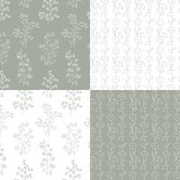 motivi floreali botanici disegnati a mano grigio e bianco vettore