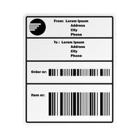 etichetta adesiva con codice a barre di spedizione per la compagnia di spedizioni