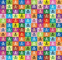sfondo senza soluzione di continuità da bandiere multicolore jolly Roger vettore