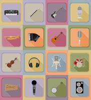 gli elementi di musica e le icone piane dell'attrezzatura vector l'illustrazione