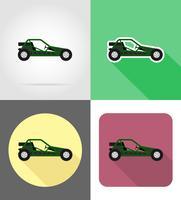 illustrazione vettoriale di icone piane di strade buggy auto fuori atv