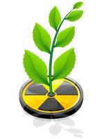 pianta verde che cresce da un'illustrazione di vettore di radiazione di segno