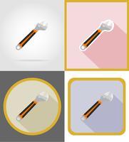 illustrazione piana di vettore delle icone degli strumenti della costruzione e della riparazione della chiave