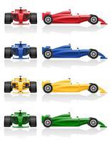 ha fissato l'illustrazione ENV 10 di vettore dell'automobile da corsa delle icone di colori