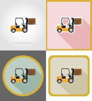 icone piane del carrello elevatore a forcale consegna illustrazione vettoriale