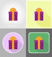 contenitore di regalo con un'illustrazione piana di vettore delle icone dell'arco