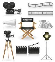 impostare icone cinematografia cinema e illustrazione vettoriale film