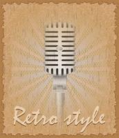 illustrazione vettoriale di vecchio microfono poster stile retrò