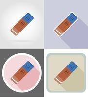 illustrazione piana di vettore delle icone piane dell'attrezzatura della cancelleria della gomma di gomma
