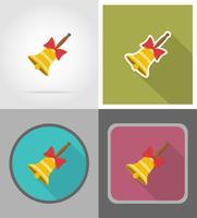 icone piane scuola campana illustrazione vettoriale