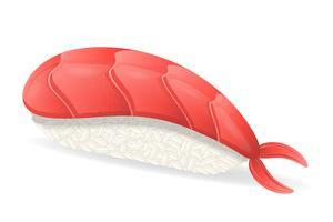sushi con illustrazione vettoriale gamberetti