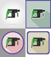 gli strumenti elettrici del trapano per le icone piane di riparazione e della costruzione vector l'illustrazione