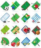 l'insieme stadio e campo del campo da giuoco della corte per le icone piane dei giochi di sport vector l'illustrazione