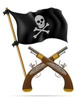 illustrazione di vettore di bandiera e pistole pirata