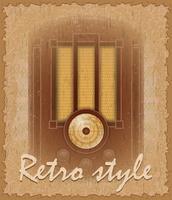 vecchia illustrazione di vettore di radio del manifesto di stile retro