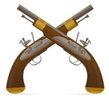 vecchia illustrazione vettoriale retrò pistola a pietra focaia