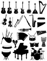 gli strumenti musicali hanno messo l'illustrazione nera di vettore delle azione del profilo della siluetta delle icone