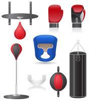 impostare icone di attrezzature per l'illustrazione vettoriale di boxe