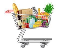 carrello della spesa con acquisti e alimenti vettore
