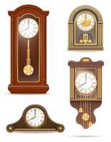 illustrazione di vecchio orologio retrò set icone vettoriali stock
