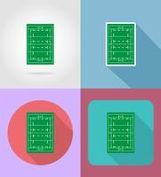 campo per icone piane di rugby illustrazione vettoriale