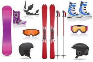 illustrazione stabilita di vettore dell'attrezzatura delle icone dello sci e di snowboard