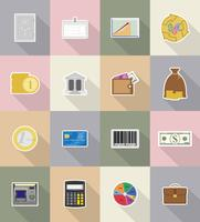 Icone piane di affari e finanza illustrazione vettoriale