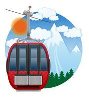 illustrazione di vettore dell'emblema della funivia dello sci della cabina
