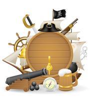 illustrazione di vettore delle icone di concetto del pirata