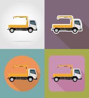 il camion con una piccola gru per le icone piane della costruzione vector l'illustrazione