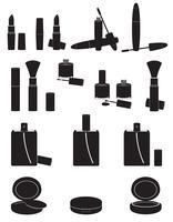 set icone cosmetici nero silhouette illustrazione vettoriale