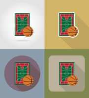 icone piane del campo da basket illustrazione vettoriale