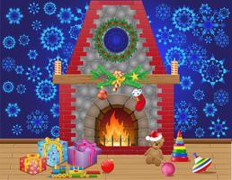 sala camino con regali e decorazioni natalizie vettore