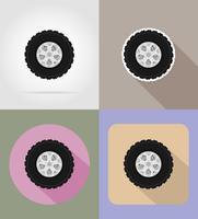ruota per le icone piane di auto illustrazione vettoriale