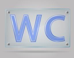 Toilette trasparente del segno sull'illustrazione di vettore del piatto
